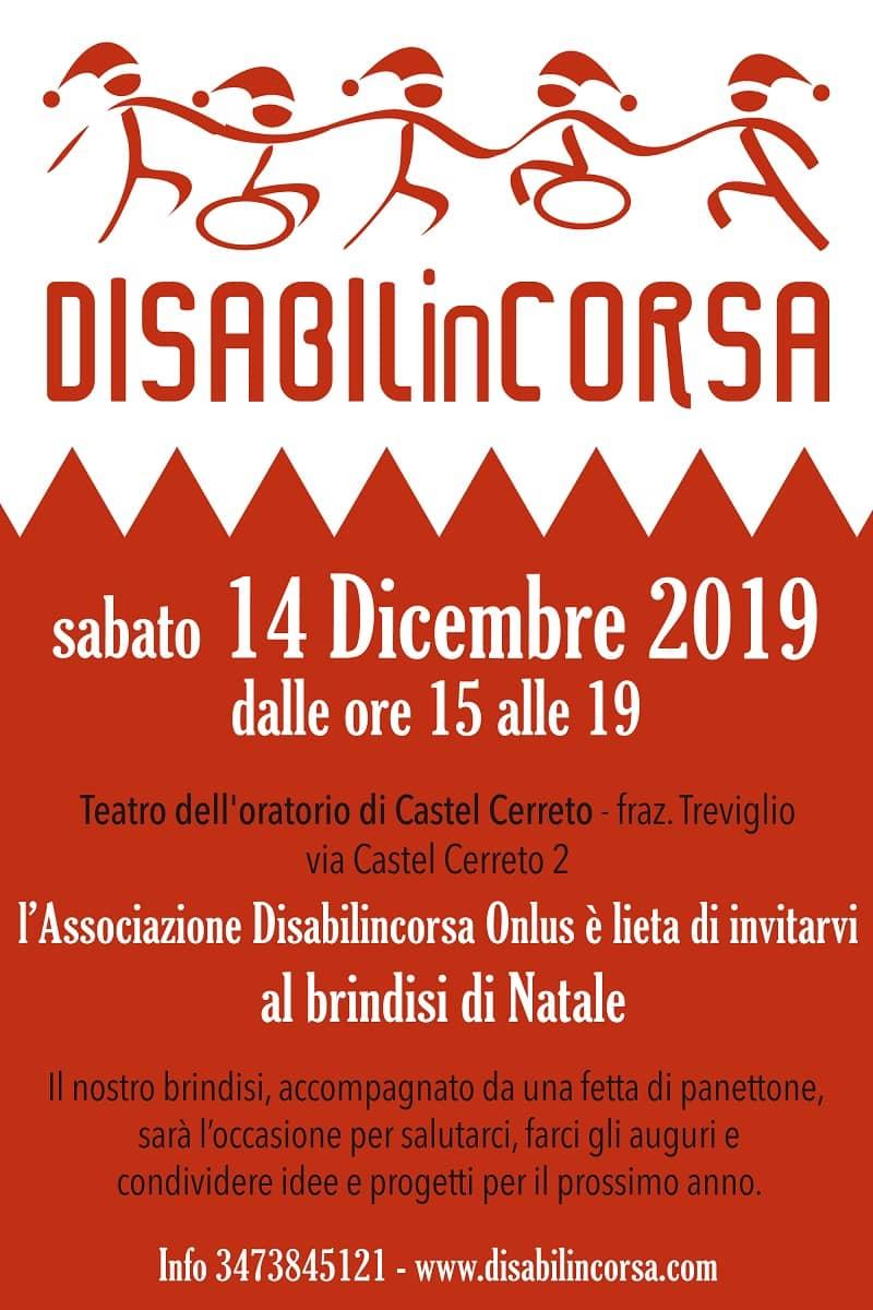 locandina del brindisi di Natale organizzato da Disabilincorsa, il 14 dicembre a Castel Cerreto